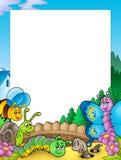 Frame with various garden animals Stock Photo
