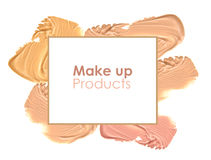 Frame of various make up liquid powder strokes on white background Stock Photography