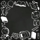 Frame with various school elements drawn in chalk  Royalty Free Stock Image