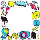 Frame with various school elements Stock Photos