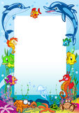 Frame with various sea animals Stock Photo