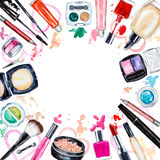 Frame of various watercolor decorative cosmetic. Makeup products Stock Photography