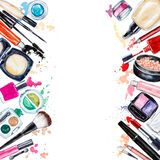Frame of various watercolor decorative cosmetic. Makeup products. Beauty items, mascara, lipstick, foundation cream, brushes, eye shadow, nail polish, powder stock illustration