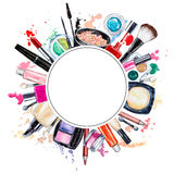 Frame of various watercolor decorative cosmetic. Makeup products. Beauty items, mascara, lipstick, foundation cream, brushes, eye shadow, nail polish, powder vector illustration