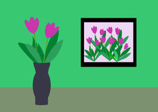 Frame and Vase with Flowers Royalty Free Stock Image