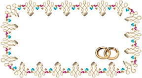 Frame in the vector of hearts in the form of precious stones and gold, rubies and sapphires, and gold wedding rings,. An invitation to a wedding, a confession royalty free illustration