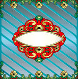 Frame with vegetable voluminous gold(en) ornament Royalty Free Stock Images