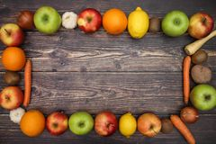Frame from vegetables and fruits.  stock photography
