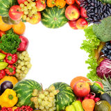 Frame of vegetables and fruits Royalty Free Stock Photo