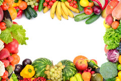 Frame of vegetables and fruits. On white stock image
