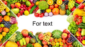 Frame of vegetables and fruits on white background. Copy space. Top view stock photos