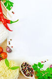 Frame of vegetables and funchozy with paper on sacking Stock Image