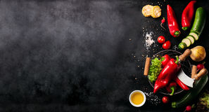 Frame of vegetables, healthy or vegetarian concept, top view royalty free stock photos