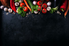 Frame of vegetables, healthy or vegetarian concept, top view. Copy space stock image