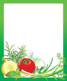 Frame with vegetables and herbs Royalty Free Stock Photo