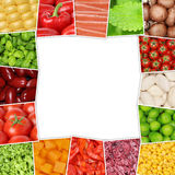 Frame from vegetables like tomatoes, paprika, lettuce, mushrooms Stock Image