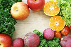 Frame Of Vegetables on a Table Royalty Free Stock Photography