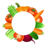 Frame of vegetables. Tomato, carrot, cucumber, celery and beets. Royalty Free Stock Photos