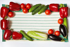 Frame from vegetables on towel perimeter Royalty Free Stock Image