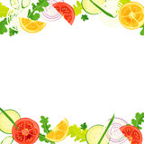 Frame of vegetables. With watercolor painting textures Royalty Free Stock Photo
