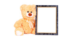Frame vert bear. Beige toy teddy bear with frame on white background royalty free stock photography