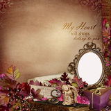 Frame in the Victorian style with retro decorations on vintage background Royalty Free Stock Photo