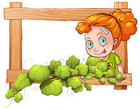 A frame with vine plants and a young girl Royalty Free Stock Images