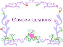 Frame of Vines with a Congratulations Greeting Royalty Free Stock Photos