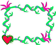 Frame of Vines, Flowers, and Hearts Stock Photo