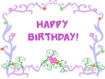 Frame of Vines with a Happy Birthday Greeting Stock Photo