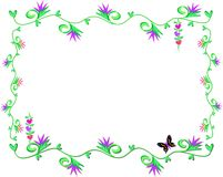 Frame of Vines, Heart Leaves, and Flowers Royalty Free Stock Photography