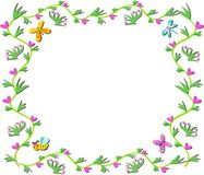 Frame of Vines, Hearts, Plants, Butterflies and Be Royalty Free Stock Images