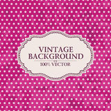 Frame on vintage background. Pink wallpaper with Stock Photos