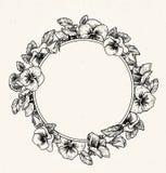 Frame of vintage botanical flowers. Violet, pansy wreath. stock illustration