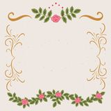Frame vintage decor. Curls and roses decorative frame with space for text. Hand drawn vintage design. Colorful on light beige background Stock Photography