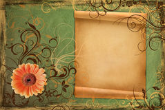 Frame on vintage green paper Stock Photography