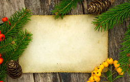Frame with vintage paper and Christmas decoration Stock Photo
