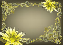 Frame in vintage style with yellow flowers Royalty Free Stock Image