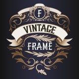 Frame - vintage text decoration. Monogram Royalty Free Stock Images