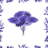 Frame with violet foliage and violet floral bouquet on a white background. Watercolor seamless pattern stock photography