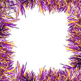 Frame of violet tinsel Royalty Free Stock Image