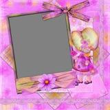Frame violeta com a menina e os florets Imagens de Stock Royalty Free