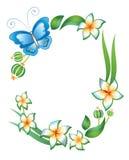 Frame: vlinder, gebladerte en bloemen Royalty-vrije Stock Fotografie