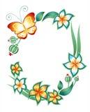 Frame: vlinder, gebladerte en bloemen Stock Foto