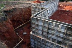 Frame voor Concrete Kelderverdieping Wa Stock Afbeeldingen