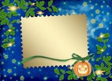 Frame voor foto met pompoen en bloemen Stock Afbeelding