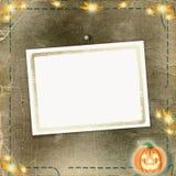 Frame voor foto met pompoen en bloemen Stock Foto's