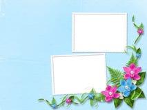 Frame voor foto met roze orchideeën stock illustratie