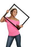 Frame vrouw in roze Stock Afbeelding