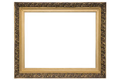 Frame w clipping path. Gold coloured, isolated over white empty frame. Such frames is used on exhibitions. You can insert your picture in it. Clipping path Royalty Free Stock Image